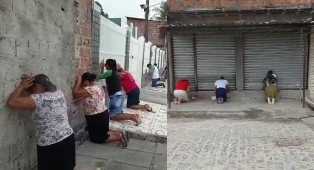 Evangélicos se ajoelham para orar pelo Brasil nas ruas de Pernambuco