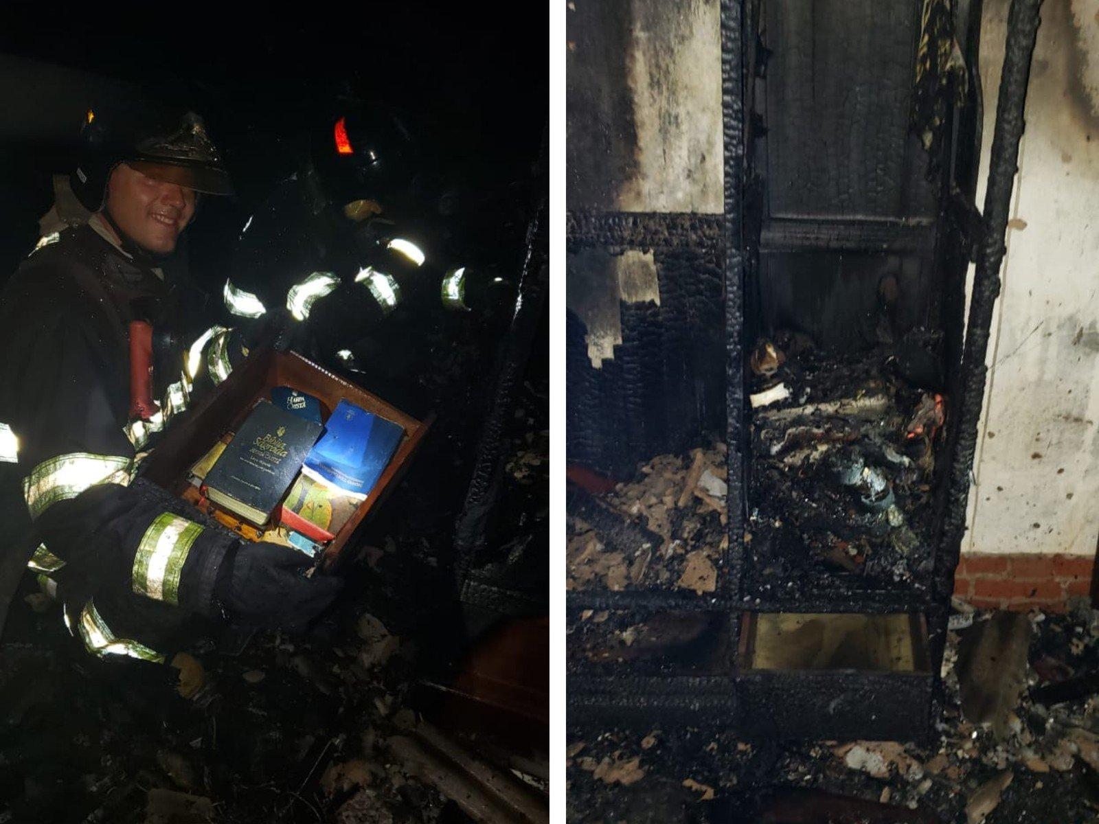 Bombeiros se surpreendem com Bíblia intacta em incêndio no interior de SP