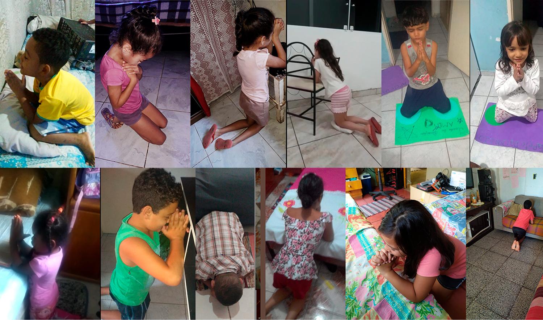 Crianças de projeto social cristão oram pelo fim da pandemia, em SP