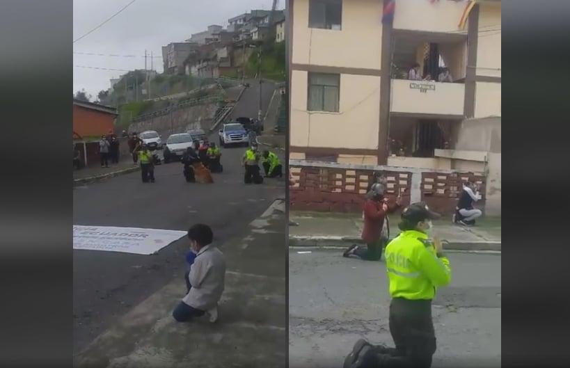 Policiais se unem à população para clamar a Deus nas ruas do Equador