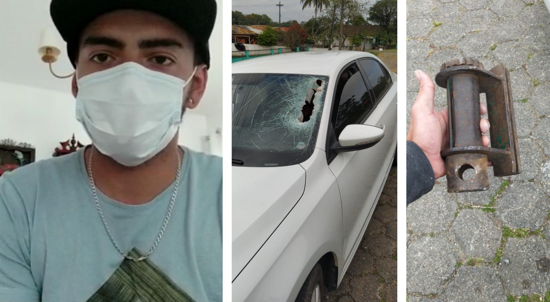 """Jovem sai ileso após peça de caminhão atingir seu carro: """"Foi um milagre de Deus"""""""