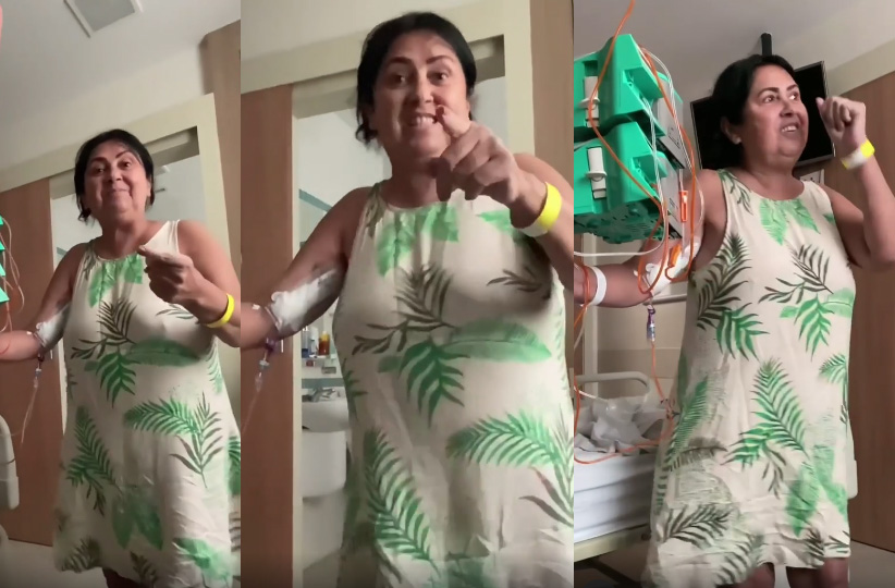 """Mulher dança em quimioterapia e inspira com sua fé: """"Sou mais que vencedora em Cristo"""""""