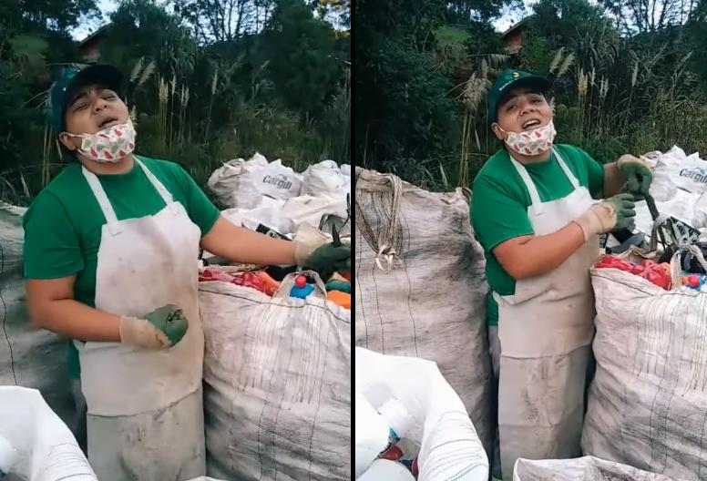 Coletora de material reciclável emociona ao louvar a Deus durante trabalho