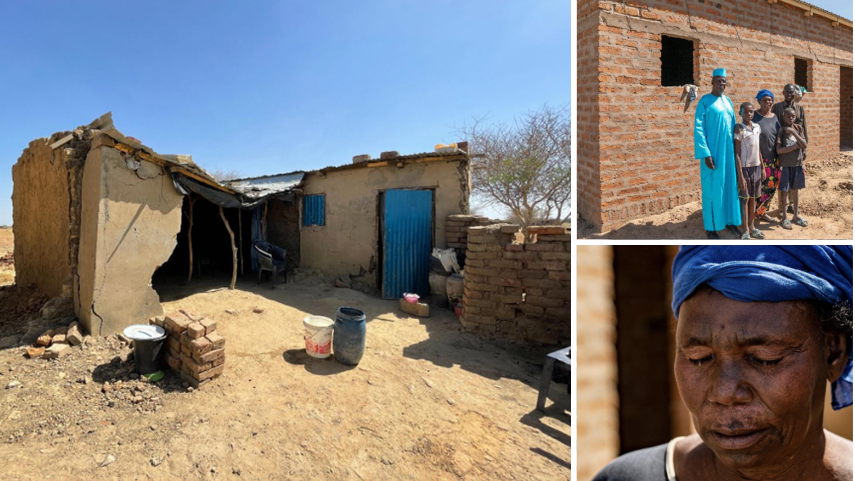 Mulher chora ao ter casa reconstruída por missionários, após enchente no Chade