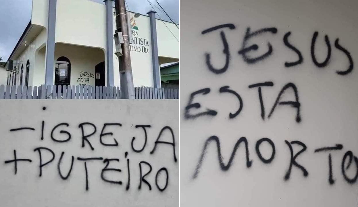 Igreja é vandalizada com símbolos nazistas e mensagens contra cristãos, no Pará