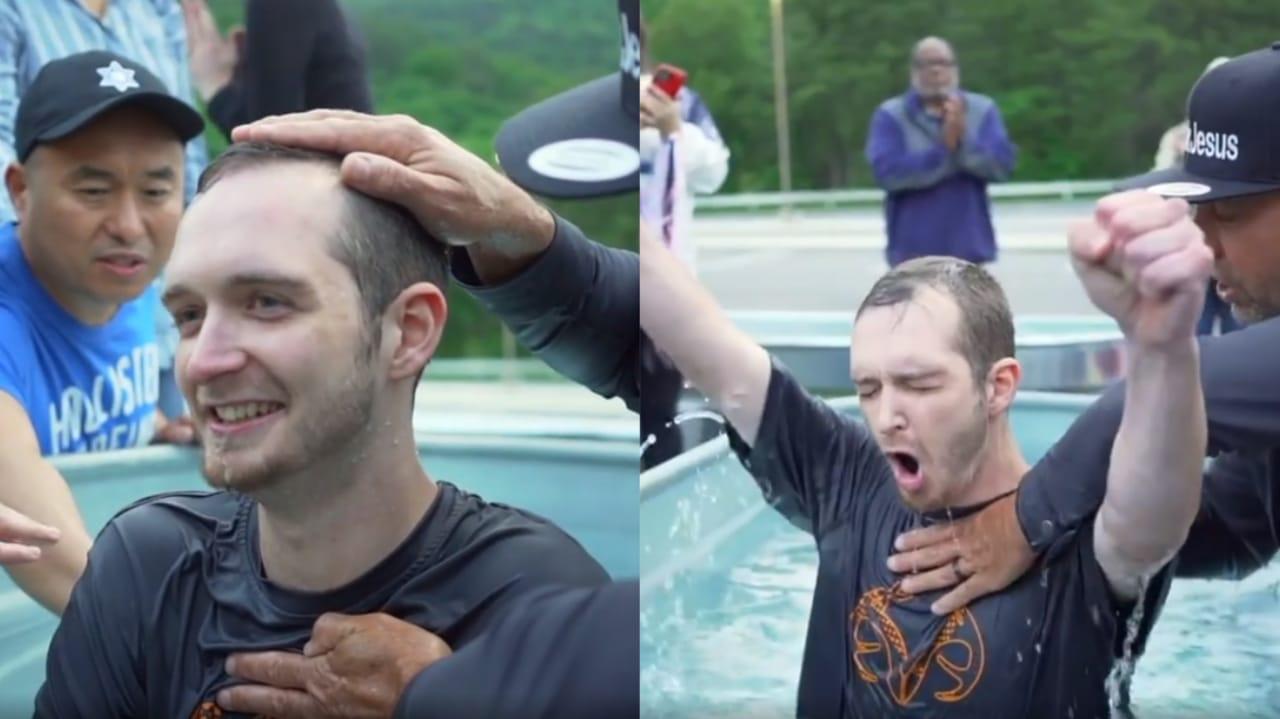 Homem suicida se depara com culto de rua nos EUA, recebe Jesus e é batizado durante evento