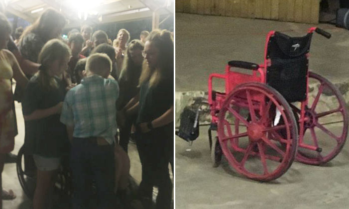 Garota levanta da cadeira de rodas após oração de crianças em retiro